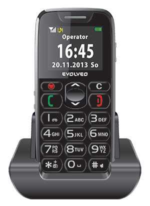 EVOLVEO EasyPhone, mobilní telefon pro seniory s nabíjecím stojánkem, snadné ovládání