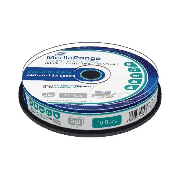 MEDIARANGE DVD+R 8,5GB 8x Dual Layer spindl 10ks Inkjet Printable