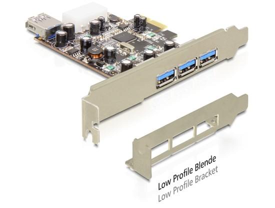 DeLock PCI Express x1 > USB 3.0, 3x externí, 1x interní, VIA, + low profile