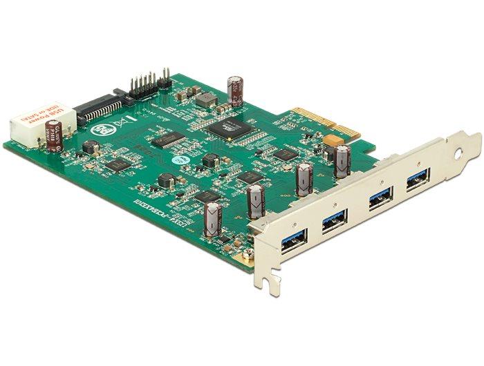 Delock PCI Express Card x4> 4 x externí USB 3.0, (Quad Channel)