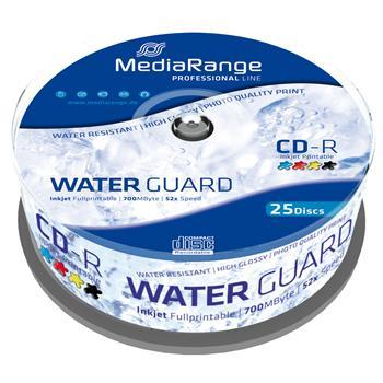MEDIARANGE CD-R 700MB 52x Waterguard Photo spindl 25pck/bal Inkjet Printable