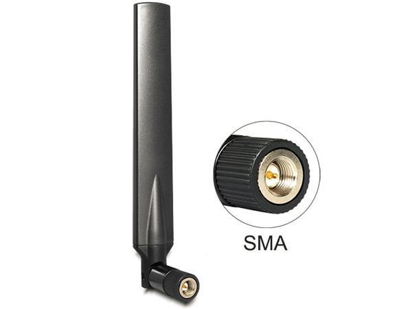 Delock LTE anténa SMA Band 1/3/7/20 -5 ~ -2.8 dBi, všesměrová kloubová černá