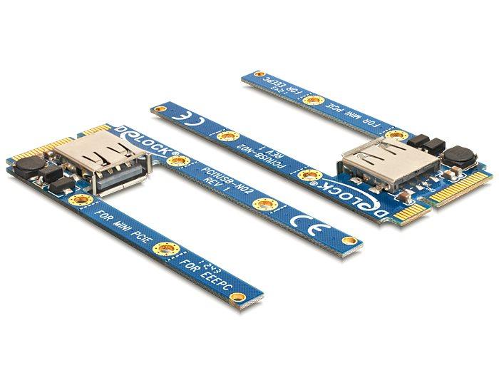 Delock MiniPCIe I/O 1 x USB 2.0 typ A samice full size / half size