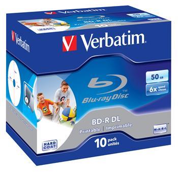 VERBATIM BD-R DL 50GB, 6x, printable, jewel case 10 ks