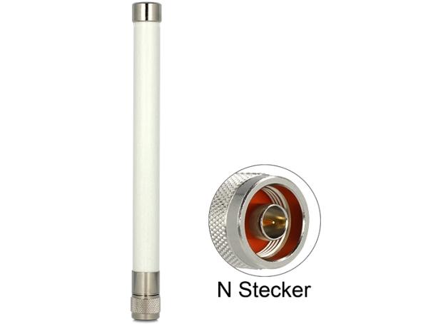 Delock WLAN 802.11 a/b/g/n anténa N Plug 4.5 ~ 7 dBi 220 všesměrová, pevná, bílá, venkovní