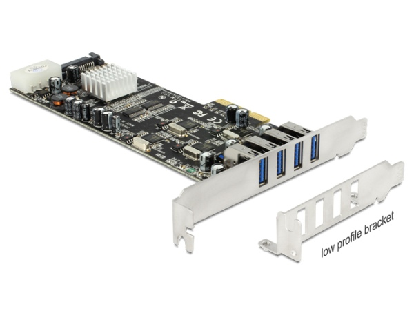 Delock PCI Express Karta > 4 x externí USB 3.0 Quad Channel