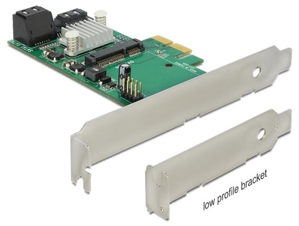 Delock PCI Express Karta > Hybrid 3 x interní SATA 6 Gb/s + 1 x interní mSATA