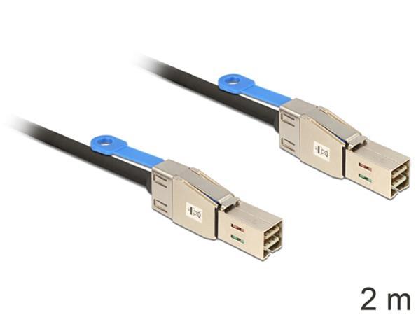 Delock Kabel Mini SAS HD x 4 SFF 8644 samec > Mini SAS HD x 4 SFF 8644 samec 2 m
