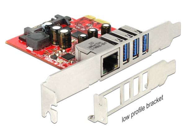 Delock PCI Express Card > 3 x external USB 3.0 + 1 x external Gigabit LAN – Low Profile Form Factor