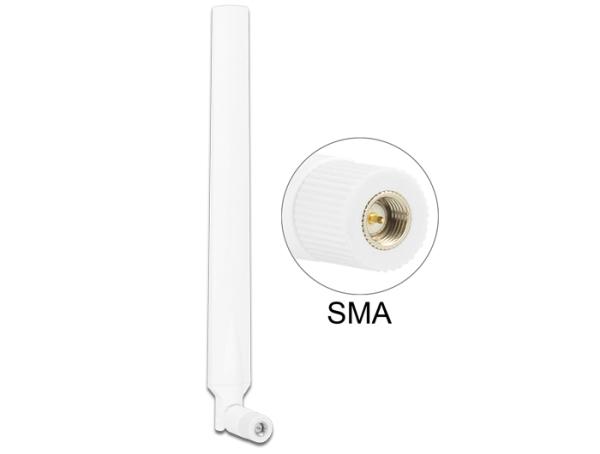 Delock LTE anténa SMA 0 ~ 4 dBi  všesměrová otočná s flexibilním kloubem -  bílá