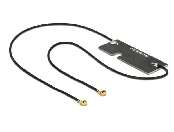 Delock Twin anténa WLAN MHF/U.FL-LP-068 kompatibilní konektor 802.11 ac/a/h/b/g/n 3 ~ 5 dBi 2x 150 mm PCB Internal Self-Adhes