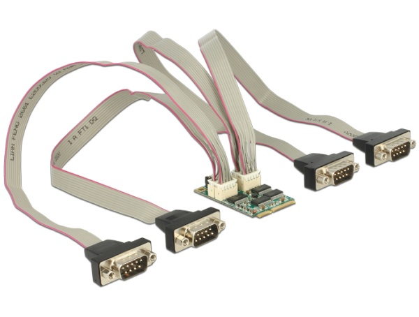 Delock Module MiniPCIe I/O PCIe full size 4 x Serial RS-232 with Voltage supply