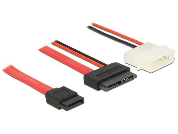 Delock Cable Slim SATA female > SATA 7 pin + 2 pin power male 15 cm