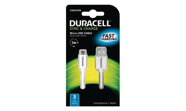 Duracell - napájecí a synchronizační kabel pro Micro USB zařízení 1m - bílý