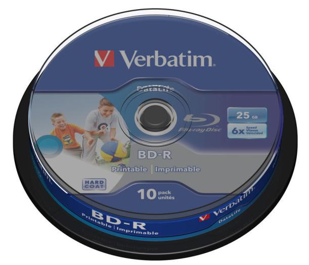 VERBATIM BD-R SL DataLife 25GB, 6x, printable, spindle 10 ks