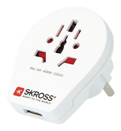 Skross SKR1500260 - Cestovní adaptér Svět-na-Evropa USB Zemněný