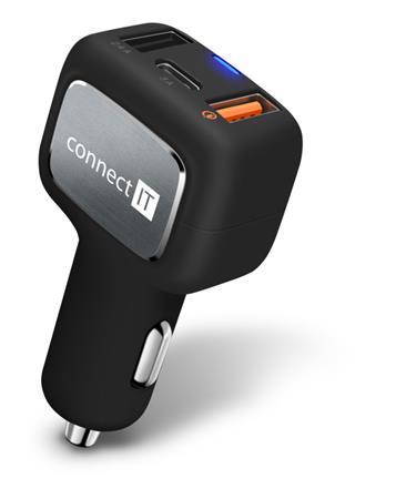 CONNECT IT InCarz QUICK CHARGE 3.0 nabíječka do auta, 2x USB, 1x USB-C, QC 3.0, černá