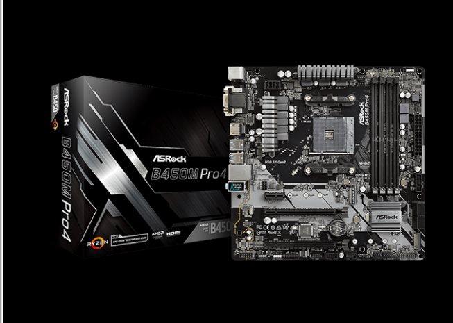 ASROCK MB B450M PRO4 (AM4, amd B450, 4xDDR4 3200, 4xSATA3, 7.1, USB3.1, VGA+DVI +HDMI, mATX)