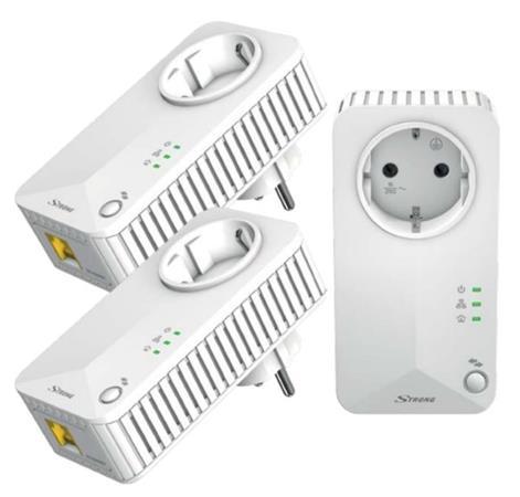 STRONG sada 3 adaptérů Powerline 500 DUO FR/ 500 Mbit/s/ 1x LAN/ bílý