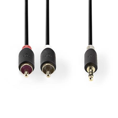Nedis CABW22200AT10 - Stereofonní Audio Kabel   3,5mm Zástrčka - 2x RCA Zástrčka   1 m   Antracit