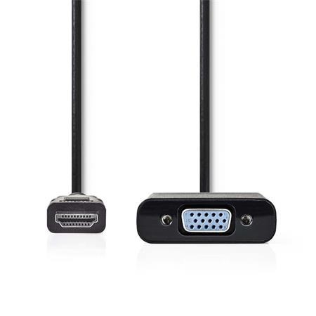 Nedis CCGP34900BK02 - HDMI™ – VGA Kabel | Konektor HDMI™ - VGA Zásuvka + 3,5mm výstup | 0,2 m | Černá barva