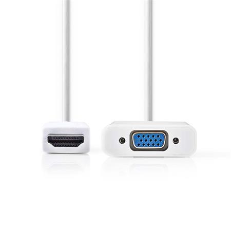Nedis CCGP34900WT02 - HDMI™ – VGA Kabel | Konektor HDMI™ - VGA Zásuvka + 3,5mm výstup | 0,2 m | Bílá barva