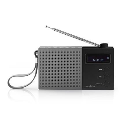 Nedis RDDB2210BK - Digitální Rádio DAB+ | 4,5 W | FM | Hodiny a Budík | Šedá / Černá