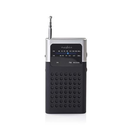 Nedis RDFM1100GY - FM Rádio | 1,5 W | Kapesní Rozměry | Černá / Šedá