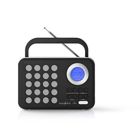 Nedis RDFM1310WT - FM Rádio | 3 W | Hodiny a Budík | Port USB a Slot na microSD kartu | Černá / Bílá