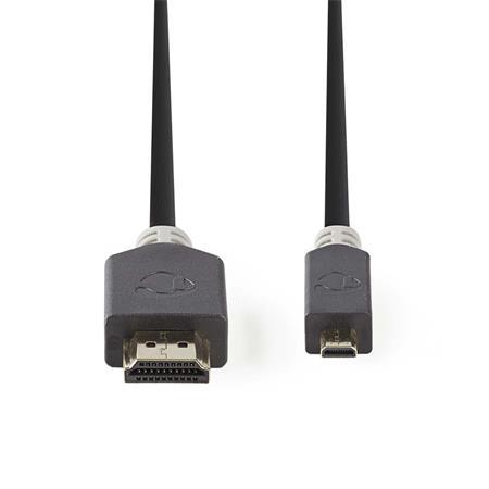 Nedis CVBP34700AT20 - Kabel High Speed HDMI™ s Ethernetem   Konektor HDMI™ - HDMI™ Micro Konektor   2 m   Antracit