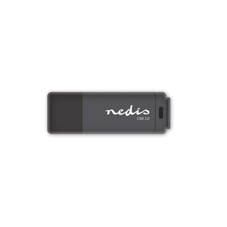 Nedis FDRIU3128BK - Flash disk USB 3.0 | 128 GB | Čtení 80 MB/s / zápis 10 MB/s | Černá barva