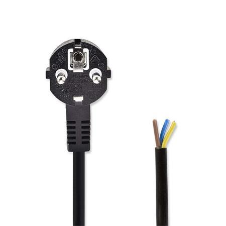 Nedis PCGP10700BK20 - Napájecí Kabel   Schuko Úhlová Zástrčka – Otevřený Konec Kabelu   2 m   Černá barva