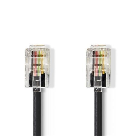 Nedis TCGP90100BK50 - Telekomunikační kabel | RJ10 Zástrčka – RJ10 Zástrčka | 5 m | Černá barva