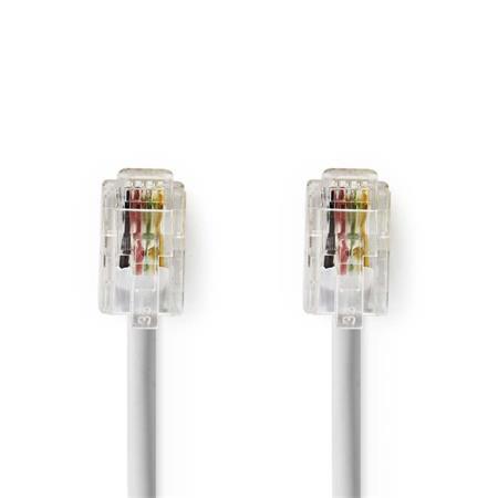 Nedis TCGP90100WT20 - Telekomunikační kabel | RJ10 Zástrčka – RJ10 Zástrčka | 2 m | Bílá barva