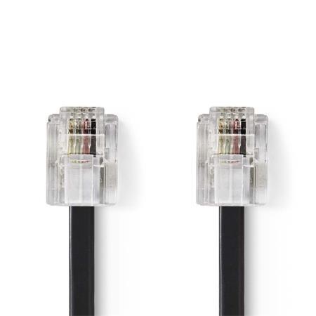 Nedis TCGP90200BK20 - Telekomunikační kabel | RJ11 Zástrčka – RJ11 Zástrčka | 2 m | Černá barva