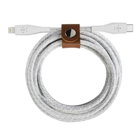 Belkin DURATEK USB-C kabel s lightning konektorem, 1,2m, bílý - odolný + řemínek