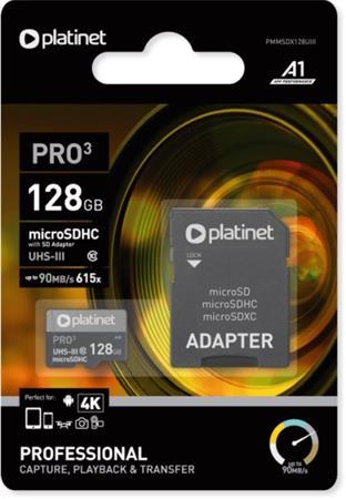PLATINET microSDXC  SECURE DIGITAL + ADAPTER SD 128GB class10 UIII A1 90MB/s
