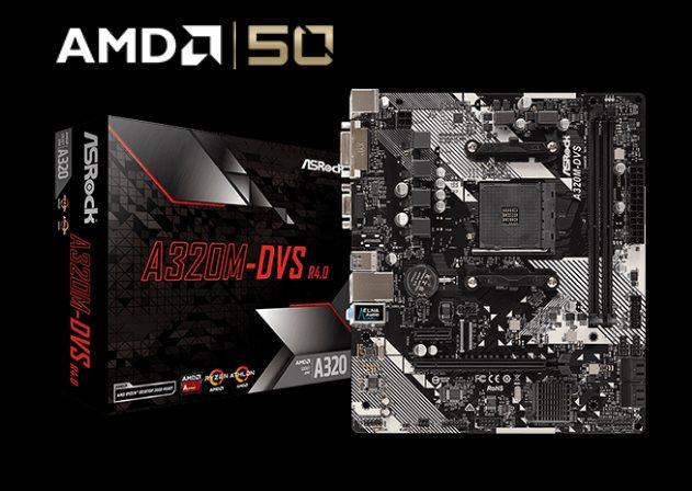 ASROCK MB A320M-DVS R4.0 (AM4, amd A320, 2xDDR4, PCIE, 4xSATA3 RAID, USB3.1, VGA+DVI, 7.1, GLAN, mATX)