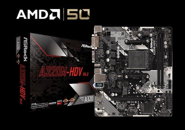 ASROCK MB A320M-HDV R4.0 (AM4, amd A320, 2xDDR4, PCIE, 4xSATA3 + M.2, USB3.1, VGA+DVI+HDMI, 7.1, GLAN, mATX)