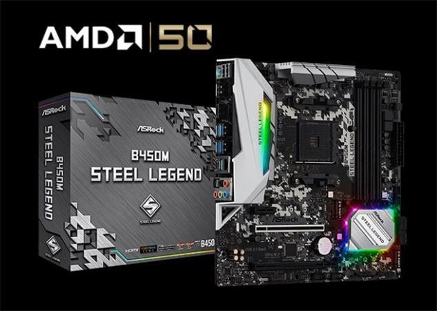 ASROCK MB B450M STEEL LEGEND (AM4, amd B450, 4xDDR4 3200, 4xSATA3, 7.1, USB3.1, Dport +HDMI, mATX)