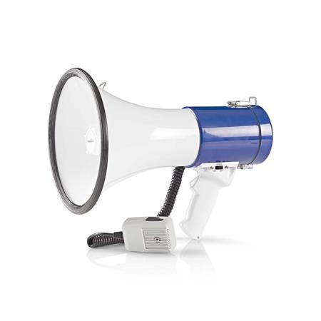 Nedis MEPH200WT - Megafon | 25 W | Dosah 1 500 m | Odpojitelný Mikrofon | Bílá / Modrá