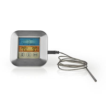 Nedis KATH106SI - Teploměr na Maso   0–250 °C   Barevný Displej   Časovač