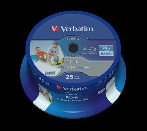 VERBATIM BD-R SL DataLife 25GB, 6x, printable, spindle 25 ks