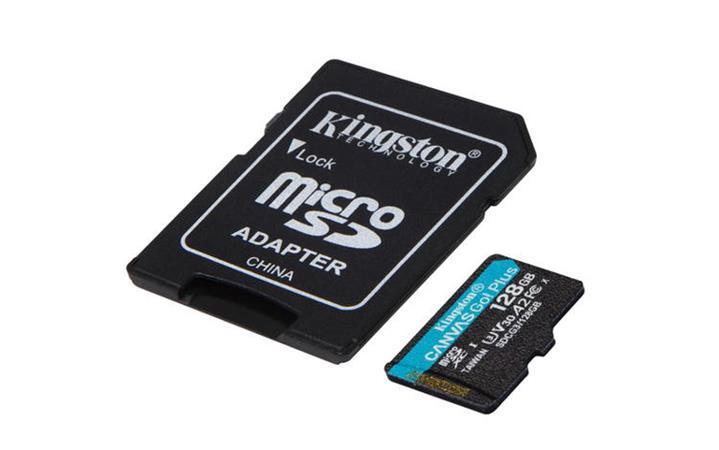KINGSTON 128GB microSDHC Canvas Go! Plus 170R/100W U3 UHS-I V30 Card + SD Adapter