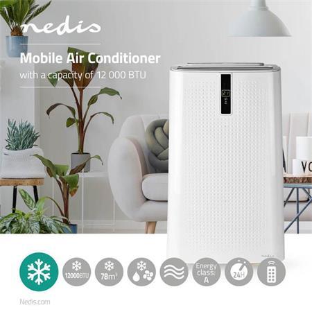 Nedis ACMB1WT12 - Mobilní Klimatizace   12 000 BTU   Energetická třída A   Dálkový ovladač   Funkce Časovače