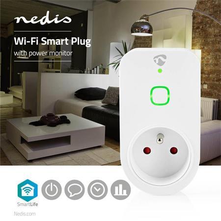 Nedis WIFIP120EWT - WiFi Chytrá Zásuvka   Francouzský Typ E   16 A