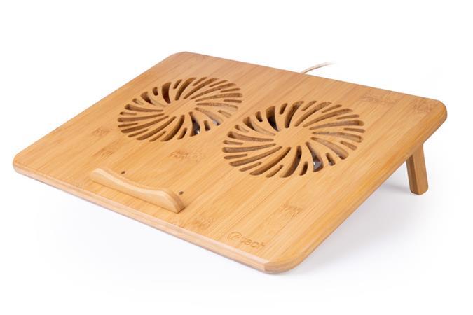 """C-TECH Chladící podložka pro ntb Bamboo, 15,6"""", 2x 140mm, 2x USB, regulace otáček, bambusová"""