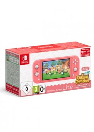 NINTENDO SWITCH CONSOLE LITE CORAL & ANIMAL CROSSING & 3M NSO