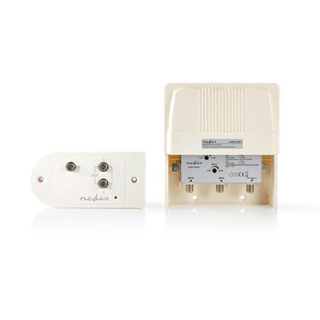 Nedis SAMP100WT - CATV Zesilovač | Zesílení: 25 dB | 174-694 MHz | Počet výstupů: 2 | Ovládání zesílení | Bílá