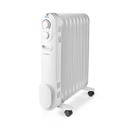 Nedis HTOI20EWT9 - Přenosný Olejový Radiátor | 800 / 1200 / 2000 W | 9 Ploutve | Nastavitelný termostat | 3 Nastavení Teploty | Oc
